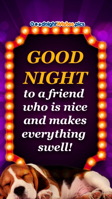 Good Night To A Friend Who Is Nice And Makes Everything Swell!