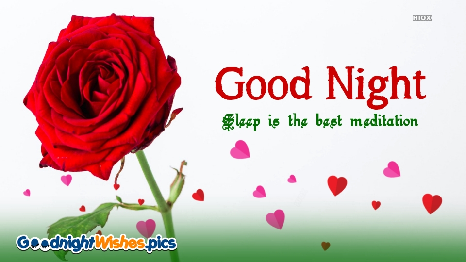 Good Night Wishes Red Rose