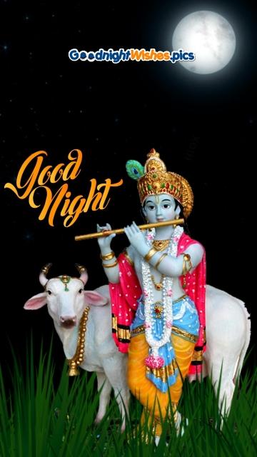 Good Night With Krishna Image