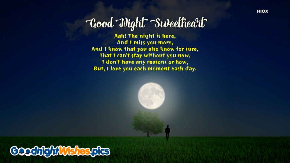 Good Night Sweetheart With Poem