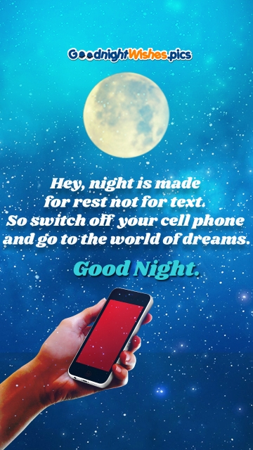 Hey, Night is Made For Rest Not For Text. So Switch Off Your Cell Phone and Go To The World Of Dreams. Good Night.