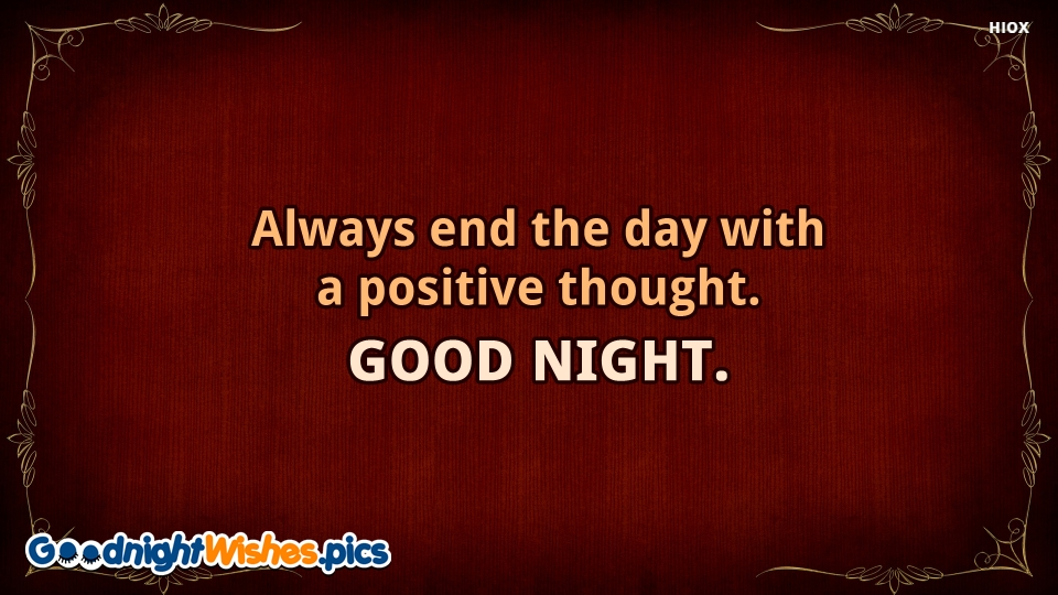 Good Night Wishes for Positive Thoughts
