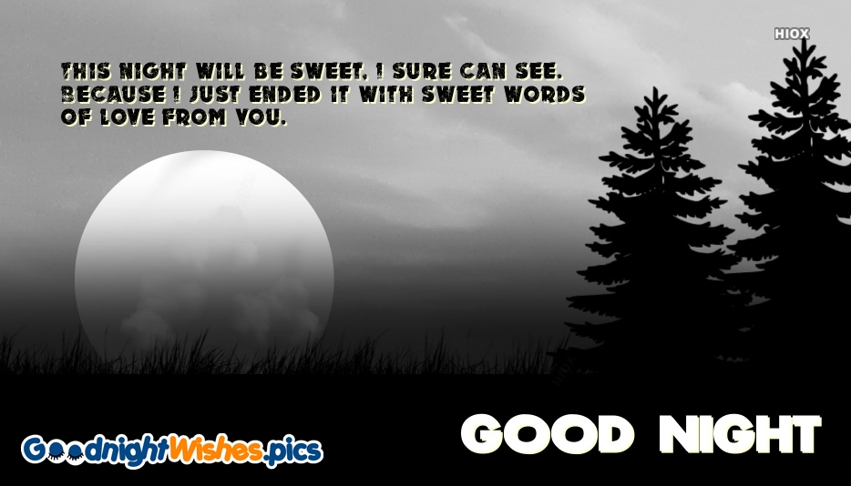 This Night Will Be Sweet, I Sure Can See. Because I Just Ended It With Sweet Words Of Love From You