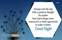 Good Night Quotation | Always End The Day With A Positive Thought