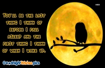Good Night Quote Image | You'll Be The Last Thing I Think Of Before I Fall Asleep And The First Thing I Think Of When I Wake Up