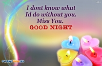Good Night With Miss You Message